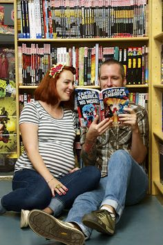 comic book store maternity shoot