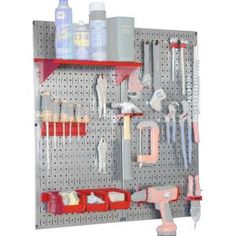 Wall Control Metal Pegboard Utility Tool Storage Kit with Galvanized Steel Pegboard and Red Accessories
