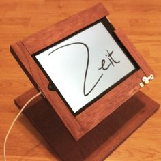 Hand crafted wooden iPad stand. Used on podium, table or as a register. - Zeit Designs