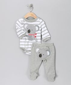 Gray Stripe Koala Bodysuit & Footie Pants - Infant