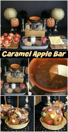 Caramel Apple Buffet – a fun Halloween or fall party ide… halloween food recipes. Caramel Apple Buffet – a fun Halloween or fall party idea for both kids and adults. Includes treat ideas, DIY decorating ideas and more! Buffet Halloween, Halloween Snacks, Halloween Food For Party, Diy Halloween Party Decorations, Harvest Party Decorations, Halloween Potluck Ideas, Halloween Food For Adults, Halloween Dessert Table, Fall Party Treats For Kids