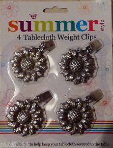 4 New Metal Flower tablecloth weights /charms /clips UK post free