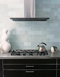 Glass subway tile kitchen backsplash