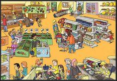 Taal, pragmatiek/integratie, praatplaat/videoplaat. thema: boodschappen, winkelen, supermarkt.