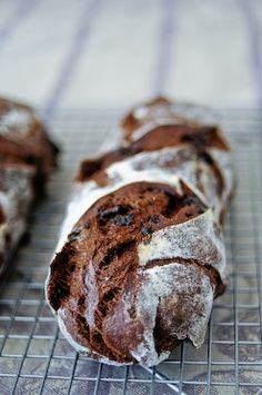 Chocolate Starter Bread: Bread dough with cocoa studded with bits of chocolate...mmm.