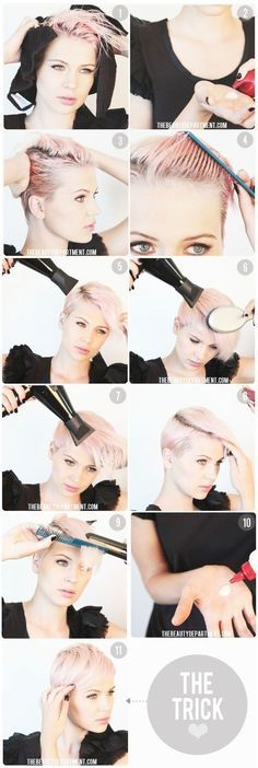 How to Style: Pixie Hairstyles. boyish and trendy pixie cut. One side is trimmed near the spaces and the other side is left longer. The longer hair is blowed and styled smoothly.