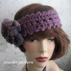 Womens Crochet Headband Pattern With Faux Felt Flower Trim Multi-Sized PDF Resell Finished