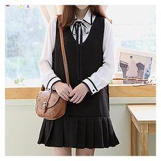 Sechuna - V-Neck Sleeveless Pleated-Hem Tunic Shirt Skirt, Fashion Dresses, Tunic, V Neck, Blouse, Long Sleeve, Skirts, Sleeves, Black