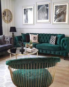 Glam Living Room, Living Room Green, Living Room Modern, Living Room Sofa, Living Room Designs, Living Room Decor, Living Room Inspiration, Home Decor Inspiration, Colourful Living Room