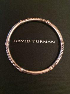 David Yurman Sterling/18k Gold Bangle Bracelet - http://designerjewelrygalleria.com/david-yurman/david-yurman-sterling18k-gold-bangle-bracelet/