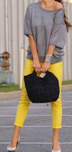 yellow pants/gray top casual weekend