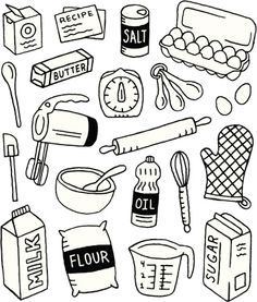 A baking-themed doodle page.- A baking-themed doodle page. Baking and doodles royalty-free stock vector art illustration - Food Doodles, Cute Doodles, Doodle Drawings, Doodle Art, Doodle Kids, Flower Drawings, Zentangle Drawings, Pages Doodle, Food Illustrations