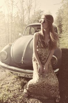 Hippie Style ♥ this could be my mom when i was little... hippy dresses and vw bug...