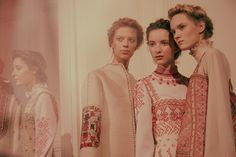 Left, Lexi Boling (Ford), centre, Clémentine Deraedt (Supreme), right, Harleth Kuusik (Elite) backstage at Valentino Haute Couture SS15