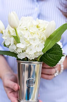 """""""Because flowers are a must on every table. I used the the Draper James Mint Julep Cups to hold bouquets of white hydrangeas and tulips. Tulip Wedding, Peony Bouquet Wedding, Tulip Bouquet, Wedding Flowers, Wedding Dresses, Beautiful Flower Arrangements, Floral Arrangements, Beautiful Flowers, Colorful Flowers"""