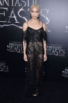 Zoe Kravitz in a Dior lace dress - Fantastic Beasts And Where To Find Them Premiere, New York - November 10 2016