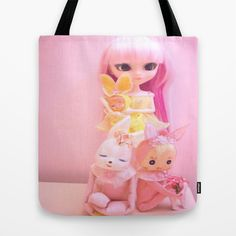 Hop Hop Tote Bag by Dollyville - $22.00 #dolls #bunny #easter #rabbit #pink #kawaii #kitsch #shabby #pastel #girly #tote #bag #fashion #childrens