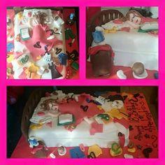 Messy bedroom cake