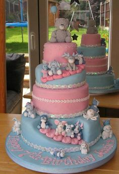 Cakes can be used as a gender revel cake at baby shower. Or twins cake if you're having a boy and girl.