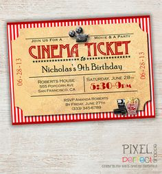 Printable Birthday Invitation, Movie Party Invitation, Movie Night, Cinema Ticket, Theater Ticket, Backyard Movie, Sleepover Invitation