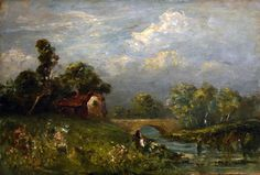 "Untitled (Landscape), Edward Bannister, ca. 1890, oil on panel, 10 × 14"", Bill Hodges Gallery."