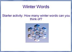 A lesson which encourages creative writing based on the theme of winter.