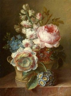 """Oil painting beauiful still life Ox horn with parrot wine cup roses on table 36/"""""""
