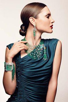 necklace,bracelet chandelier earrings- emerald,diamond-Cartier
