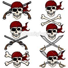 Pirate Skulls in Red Bandana — Stock Illustration #51802287