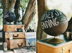 "Other viable motifs include vintage suitcases and old cameras. Paint an old globe with chalkboard paint | How To Throw The ""Great Gatsby"" Wedding Of Your Dreams"