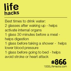 The Best Times To Drink Water - 1000 Life Hacks Improve your life one hack at a time. 1000 Life Hacks, DIYs, tips, tricks and More. Start living life to the fullest! Simple Life Hacks, Useful Life Hacks, Hack My Life, Life Hacks Tips, Best Life Hacks, 1000 Lifehacks, Tips And Tricks, Lower Blood Pressure, Diy Hacks