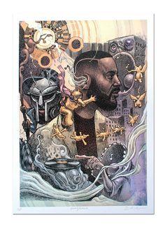 Madlib A3 Lithograph Art Print Dan Lish Ego Strip Hip Hop series by EgoStrip on Etsy