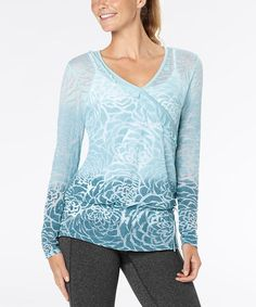 $34.99 - Take a look at this Porcelain Blue Dip-Dye Blooming Lotus Burnout Top by lucy on #zulily today!