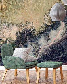 """Cara Saven Wall Design on Instagram: """"I'm all with the predictions this week but here is another! There will be a huge swing towards images taken of our Earth from above. The…"""" Custom Wallpaper, Neutral Tones, Aerial View, Wall Design, Custom Design, Earth, Wall Art, Image, Instagram"""