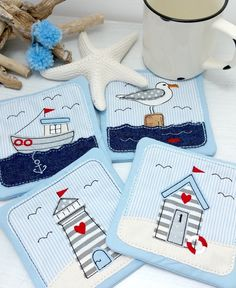 Free Motion Embroidery, Embroidery Files, Embroidery Applique, Machine Embroidery Designs, Beach Quilt, Mug Art, Applique Patterns, Mug Rugs, Kids Prints