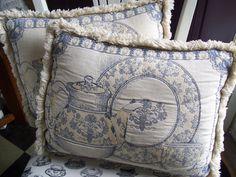 "Shabby French fringed tapestry pillows ""Tea Time"" Motif. $10.00, via Etsy."