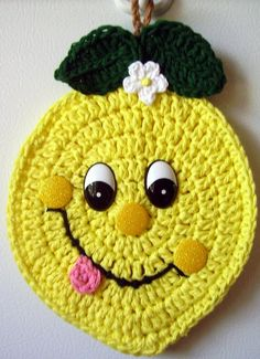 Crochet happy Lemon, wall deco, by Jerre Lollman. Can't find patterns for these cuties. Inspiration though.---Inspiration