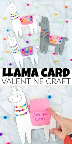 Adorable Llama Valentine Craft for Kids with a free template. You can use it for a Mother's Day card too or for a cute Llama craft for kids any time of year. Adorable Valentine Card idea for kids. Crafts for kids Llama Valentine Craft for Kids Kinder Valentines, Valentine Crafts For Kids, Crafts For Kids To Make, Crafts For Teens, Cool Kids Crafts, Cool Paper Crafts, Saint Valentine, Scrapbooking Simple, Photography Kids