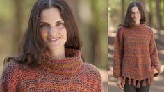 Den snyggt utsvängda tröjan stickar du i rätstickning med stora stickor.