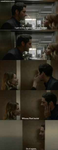 "So loving this show. Lucifer and Chloe. ""That hurt...do it again."" #Lucifer #Fox tv"