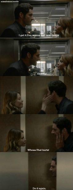 """So loving this show. Lucifer and Chloe. """"That hurt...do it again."""" #Lucifer #Fox tv"""