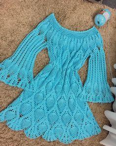 Crochet Cardigan, Knit Dress, Crochet For Kids, Knit Crochet, Crochet Stitches, Crochet Patterns, Crochet Wedding, Crochet Fashion, Crochet Clothes