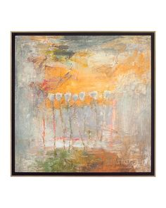 """John-Richard: Alabama artist Randy Moberg's original oil painting """"Repeating Tulips-Sunrise"""", is presented here as a highly textured giclee on canvas. The wooden floater frame has an acid aged silver metal leaf face with an accent colored background."""