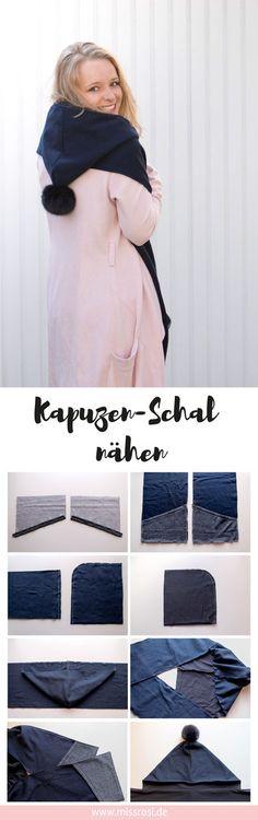 Schal mit Kapuze nähen für Anfänger. Ein einfaches DIY Tutorial.