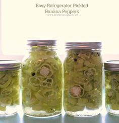 "Quick and Easy Refrigerator Pickled Banana Peppers - a good ""refrigerator"" canned recipe for this...stays good for a few months"