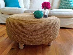 DIY Rope and Tire Ottoman: Inspired by her years living aboard a fishing boat, Denise Rodriguez wanted to add a coastal element to her living room. With a little patience and a lot of glue, Denise created a statement piece from a used tire.