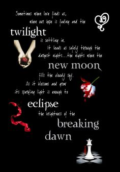 Twilight, New Moon, Eclipse, Breaking Dawn ♡ The Twilight Saga ♡ Twilight Film, Twilight Poster, Twilight Saga Quotes, Twilight Saga Series, Twilight Edward, Twilight New Moon, Twilight Wedding, Twilight Videos, Twilight Jacob