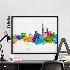 Taipei skyline art print watercolour Poster Wall by iPrintPosters