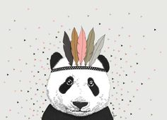 Minimel 'Postcard Indian Panda Pink' | Minimel | Petite Louise