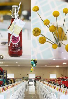 """Creative Wedding Luncheon with Vintage Cars, Tissue Poms, & IZZE """"Table Runners"""""""
